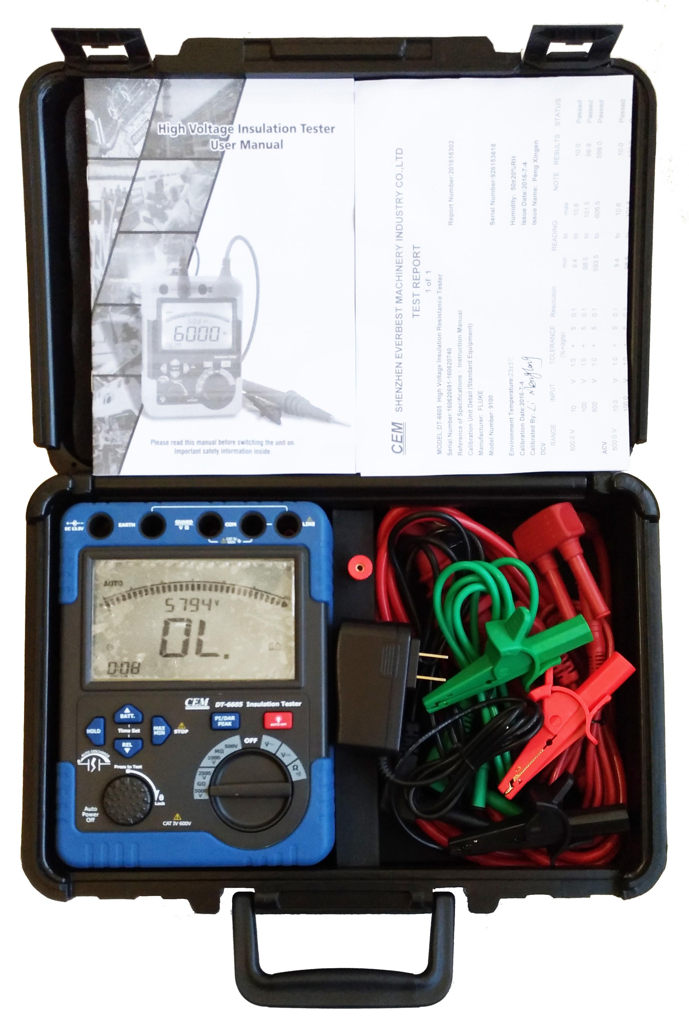 Details about CEM DT-6605 5000V 60 G Ohm Insulation Tester Megger MegOhm  Meter Digital CAT IV